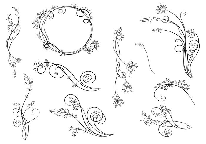 Floral Brush Swirls Pack
