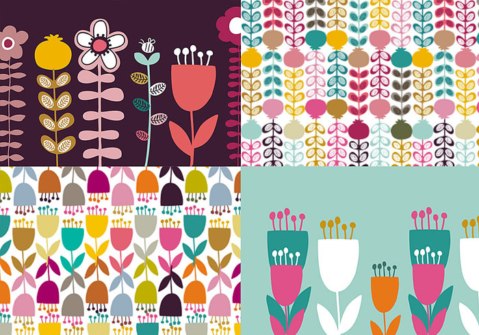 Daisy and Tulip Patterns & Wallpapers