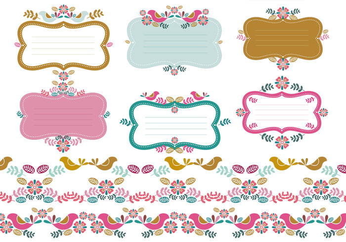 Floral Tags & Border Brush Pack Two
