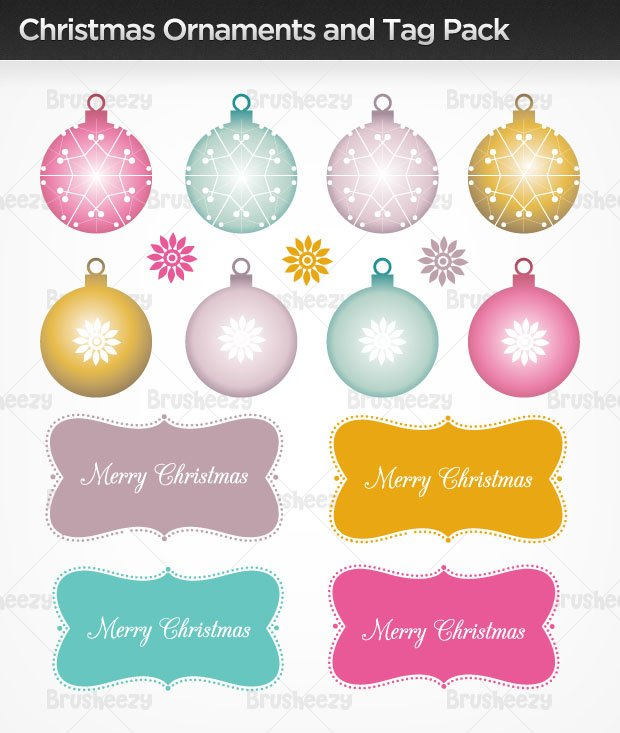 Christmas Ornaments And Tag Photoshop Brushes