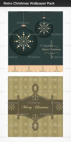 Pacote de papel de parede retro Christmas Photoshop
