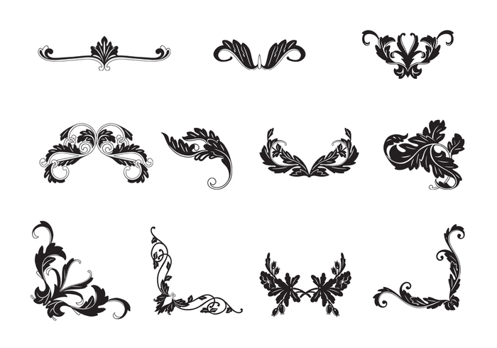 Black & White Floral Ornamental Brushes