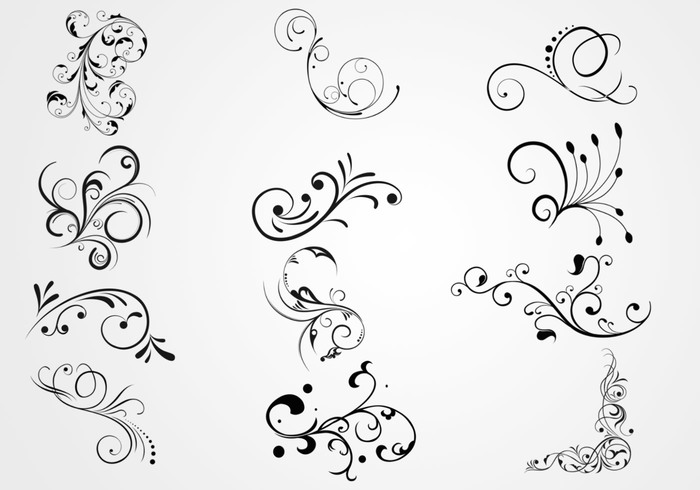 Swirly Floral Scrolls Brushes