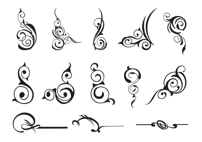 13 Scroll Swirly Brushes