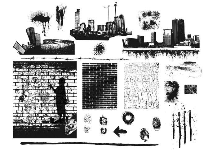 City Bricks and Splats Brush Pack