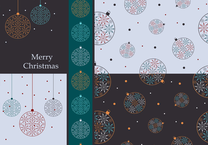 Colorful Christmas Ornaments Wallpaper and Brush Pack