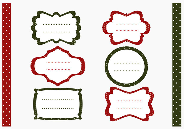 Polka Dotted Christmas Labels Brush and Pattern Pack