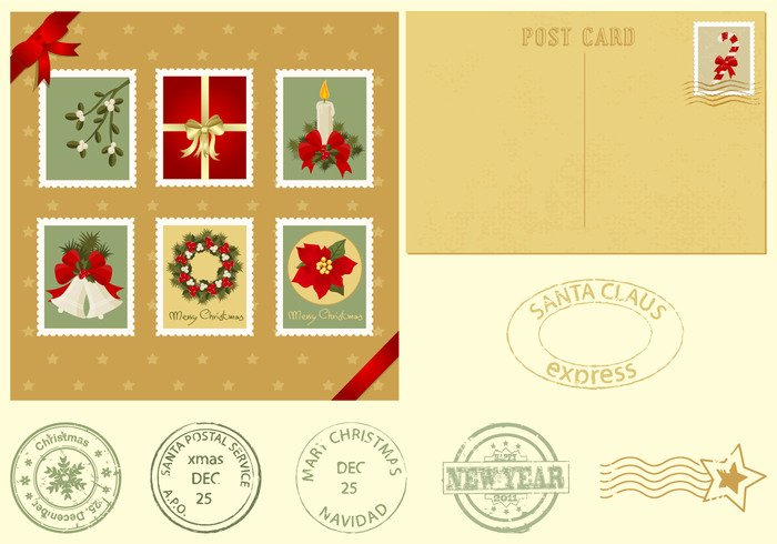 Christmas Postcard and Stamps Brush Pack
