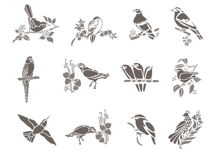 Floral Bird Brush Pack