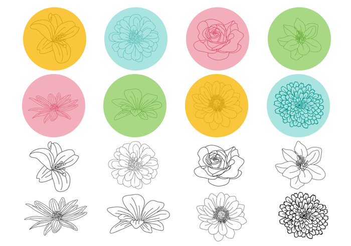 Outlined Floral Brush Pack