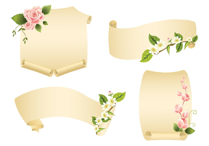 Floral Scroll Banner PSD Pack