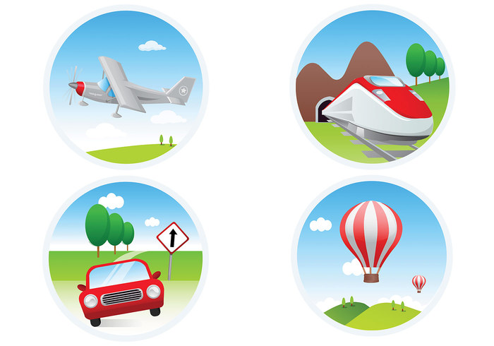 Four Transportation Icon PSD Pack