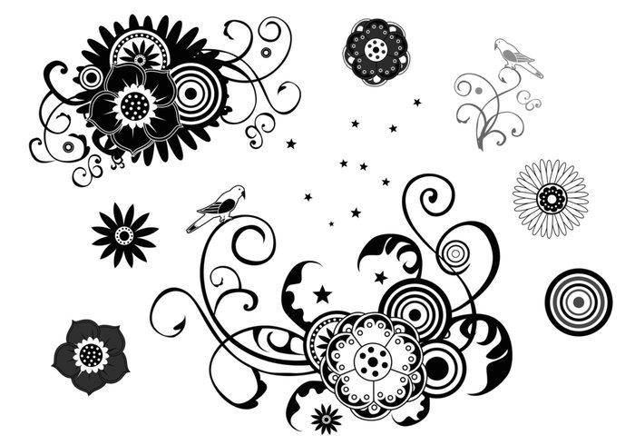 Pacote de escovas florais, redemoinhos e estrelas