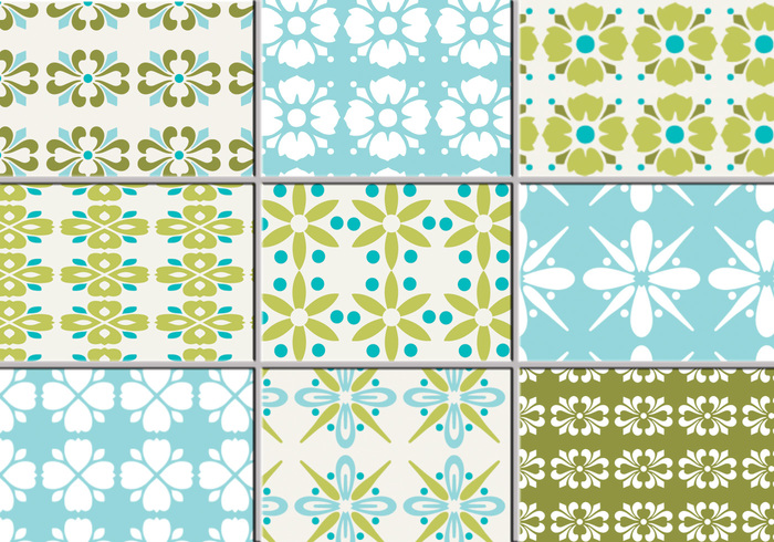 Nine Retro Floral Patterns for Photoshop
