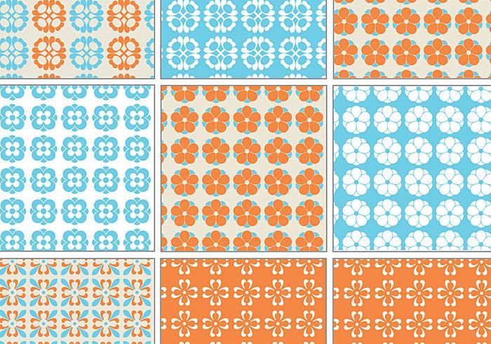 Blue and Orange Retro Patterns for Photoshop