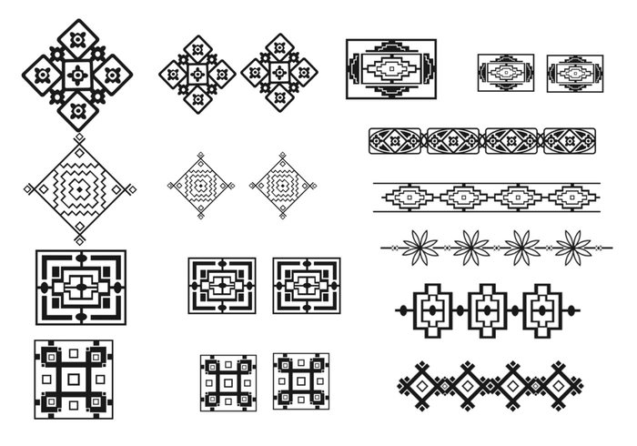 South West Inlay Designs And Patterns : Southwest border brush and pattern pack free photoshop
