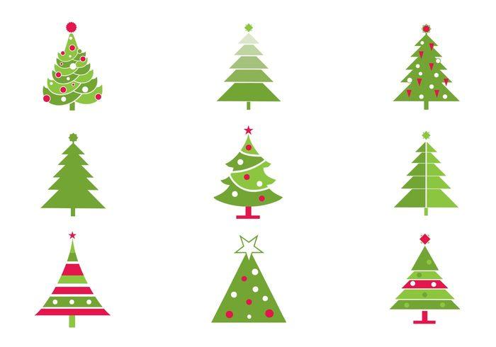 Stylized christmas tree brushes pack free photoshop