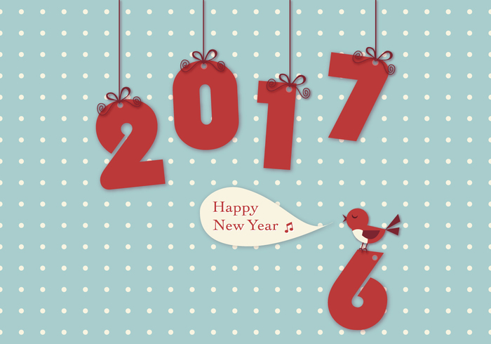 2017 New Year Bird Wallpaper PSD