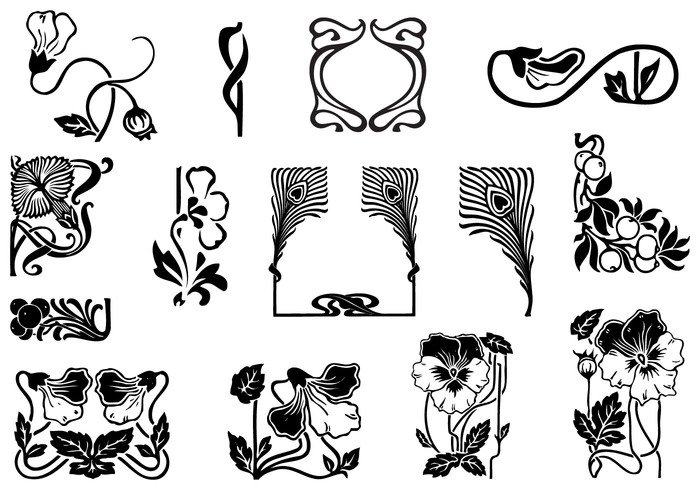 art nouveau ornament brush pack free photoshop brushes at brusheezy. Black Bedroom Furniture Sets. Home Design Ideas