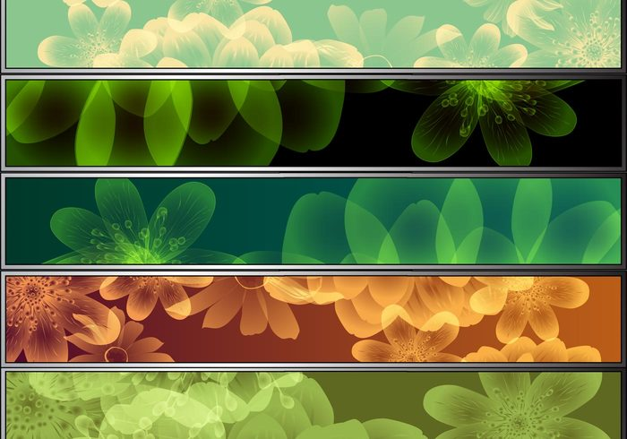 8 Colorful Flower Banner Pack