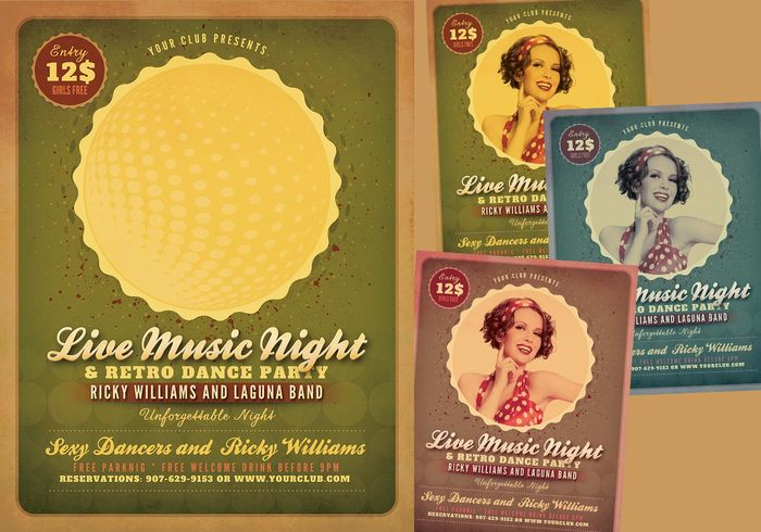 Retro Music Party PSD Flyer Pack