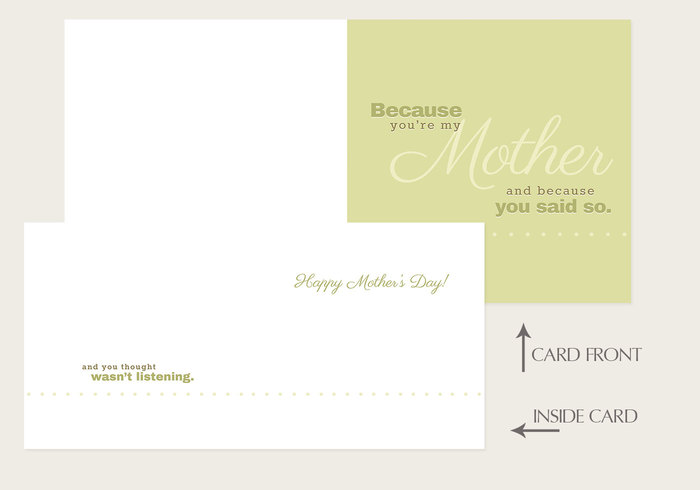 """Because You're My Mother"" Mother's Day Card PSD Template"