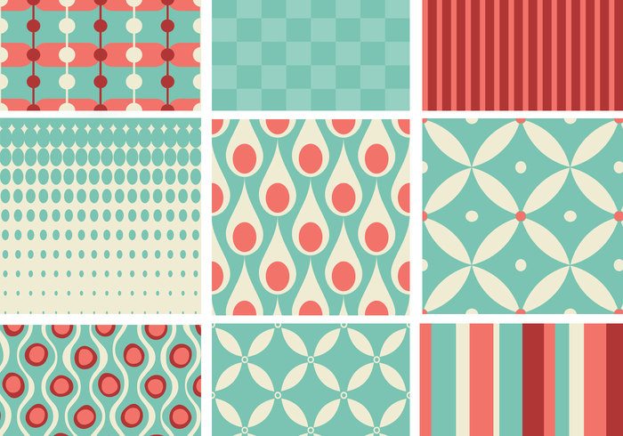 Teal and Coral Retro Pattern Pack