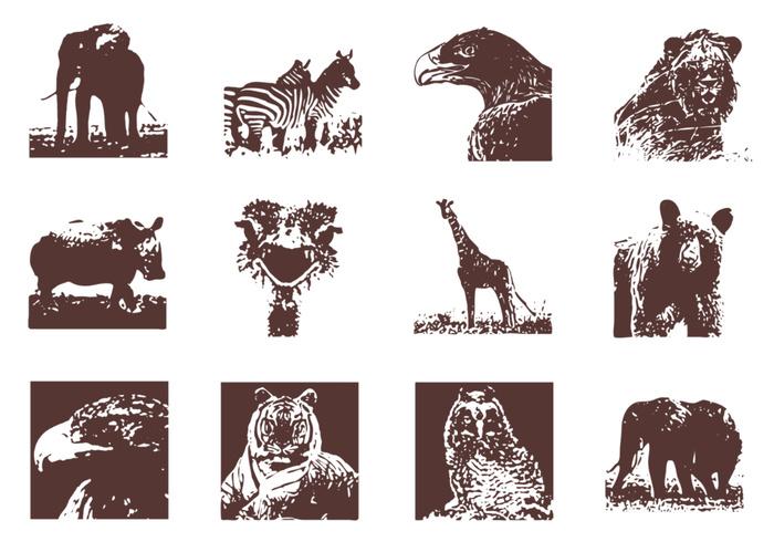 Grunge Wild Animals Brushes Pack