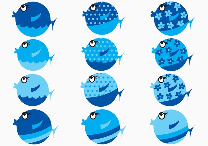 Blue Cartoon Fish Brushes Pack