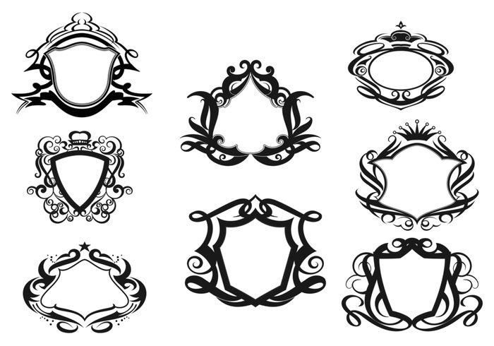 Decorative Shields Brushes Pack Two