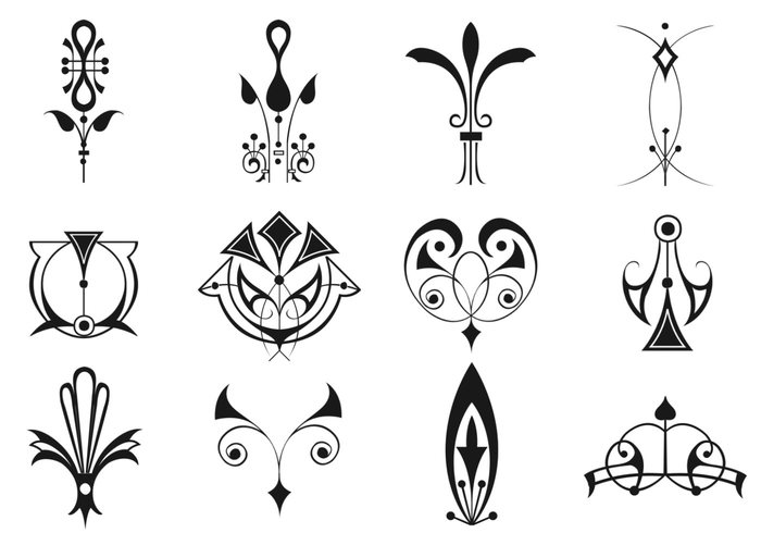 art deco ornament brushes pack two free photoshop brushes at brusheezy. Black Bedroom Furniture Sets. Home Design Ideas