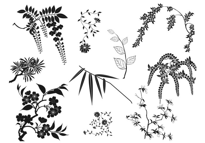 Oriental Branches and Leaves Brushes Pack