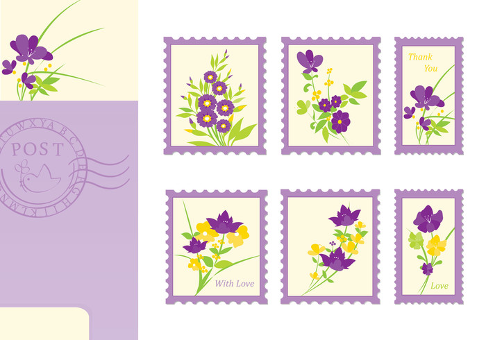 Floral Post Card and Stamp Brushes Pack