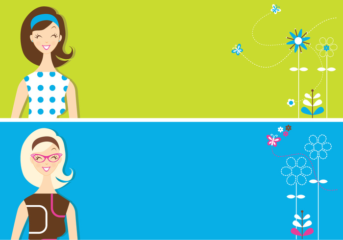 Retro Girls Banner Background Pack