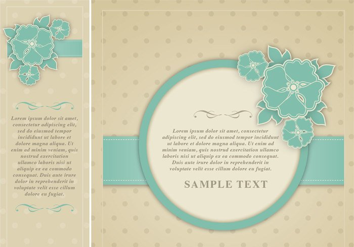 Polka Dotted Floral Frame Template Pack