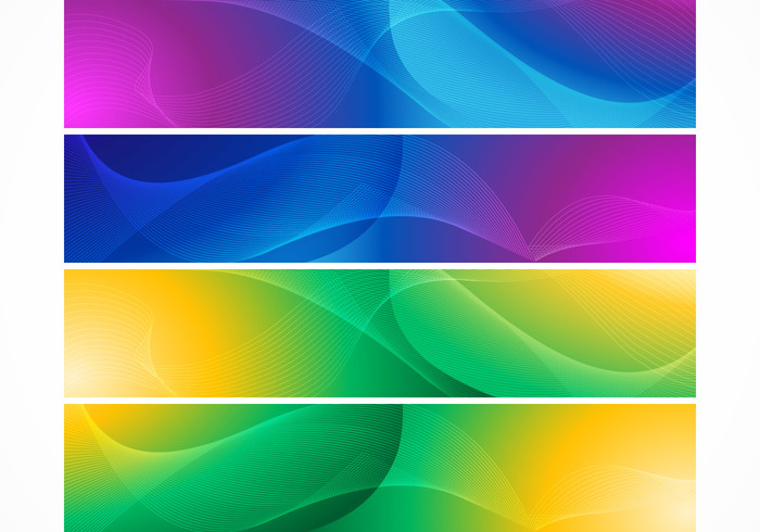 Bright Abstract Wave Banner Backgrounds