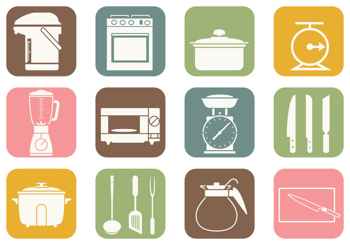 Koken en Keukenborstel Pictogrammen