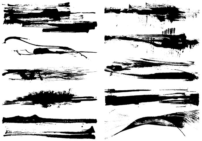 Dry Grunge Paint Stroke Brushes Pack