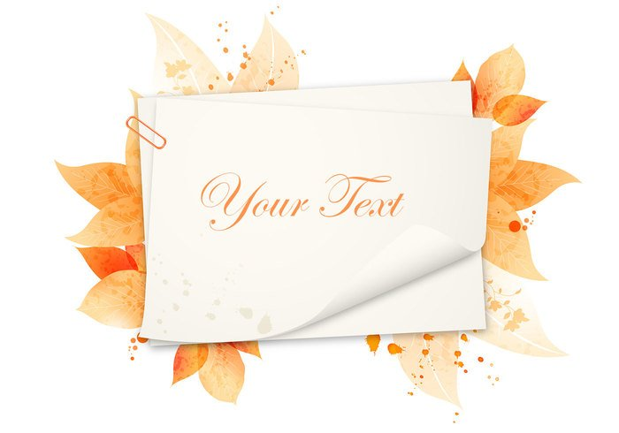 Watercolor Autumn Background PSD and Leaf Brushes Pack