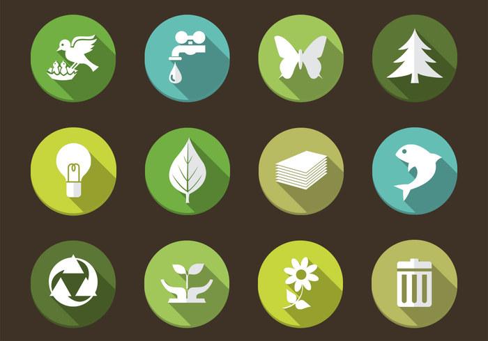 Lange schaduw eco natuur pictogram psd