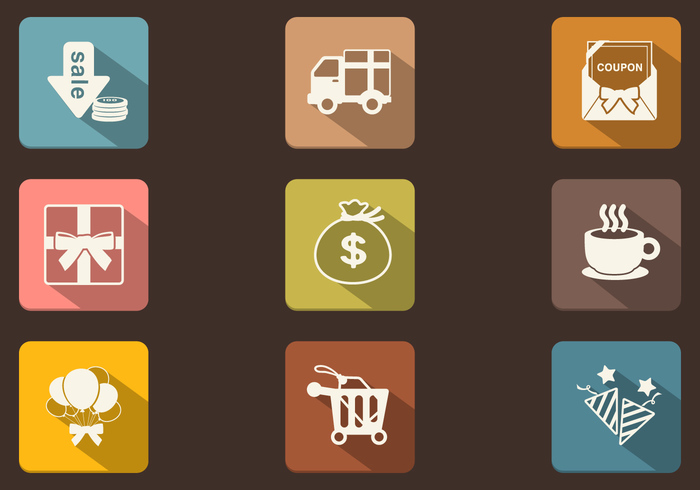 Long Shadow Shopping Icon PSD Pack