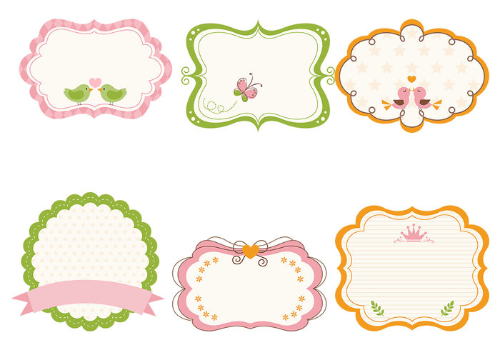 cute girly frame brushes and label brush pack