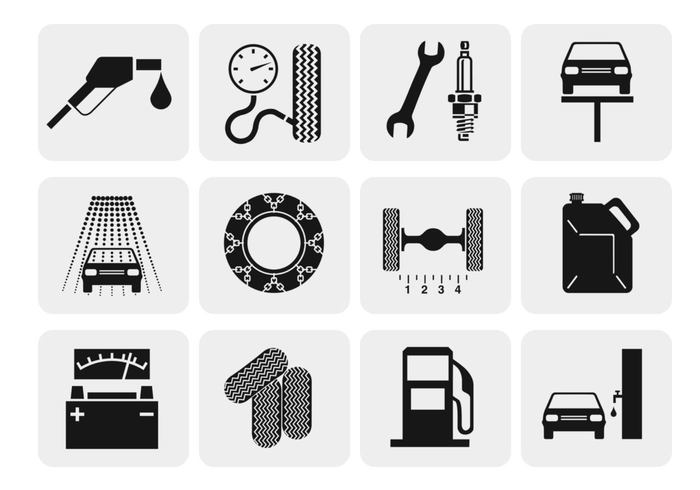 Auto Reparatie en Service Pictogram Borstels