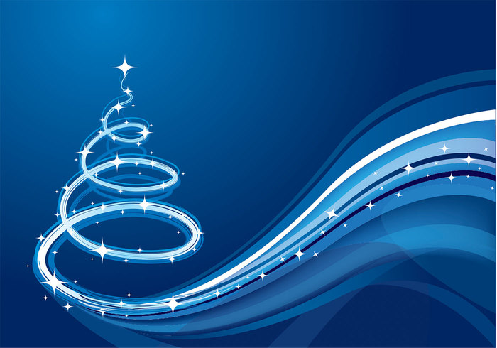 blue wave christmas tree background - Blue Christmas Trees