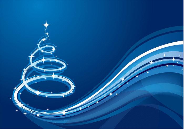 Blue Wave Christmas Tree Background