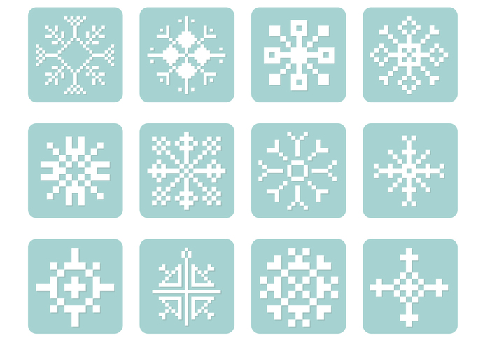 Pixel Snowflake PSD Pack