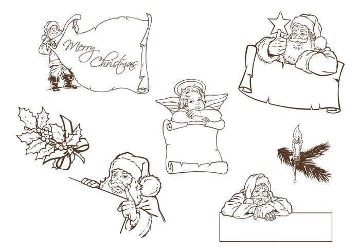 Hand Drawn Santa and Christmas Label Brushes