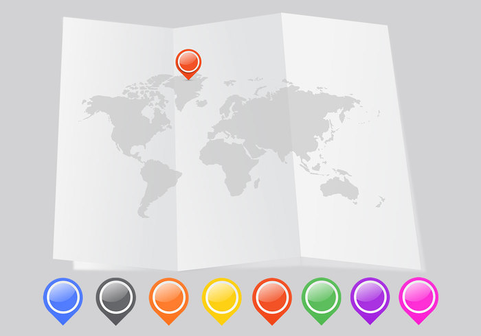 Folded world map psd with pointers free photoshop brushes at folded world map psd with pointers sciox Choice Image