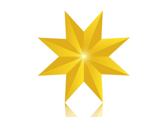 3D 8 Point Golden Star PSD
