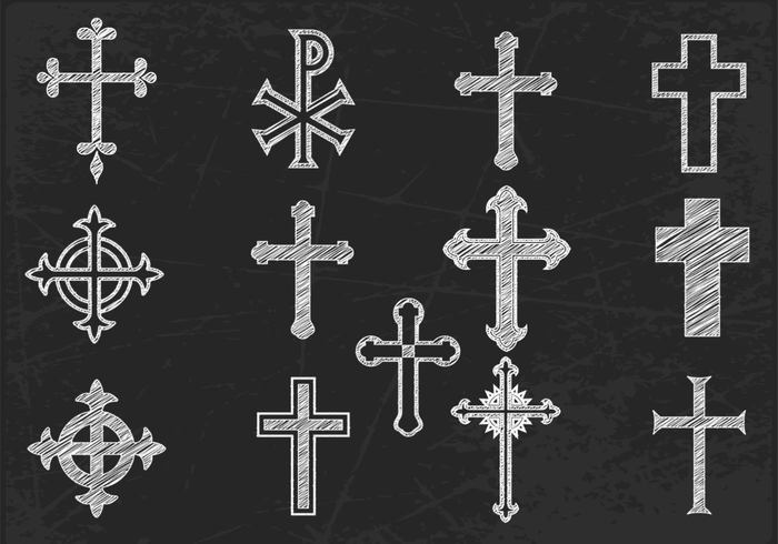 Chalk Drawn Cross Brushes and PSD Pack